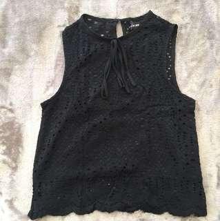 Pink Manila Black Lace Sleeveless Top
