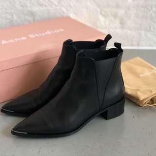 ACNE STUDIOS Jensen Black Leather Ankle Boots Size 38 / AU 7