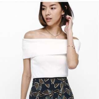 BNWT Love Bonito Taria Knit Off shoulder Top White in S