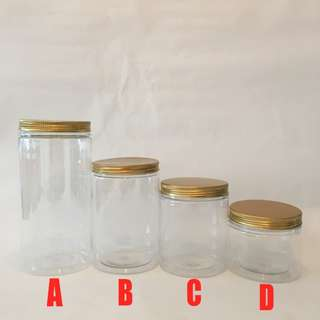 Clear Plastic Container with Gold Lid