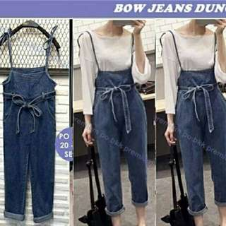 DC RR- JUMPSUIT BOW DENIM bhan jeans tebal navy gelap no inner fit to L