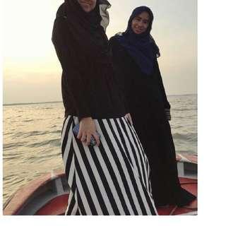 Skirt black and white stripes
