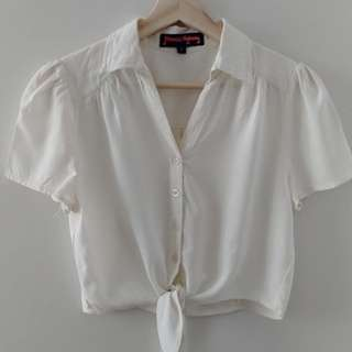 Flowy Tie Up White Blouse