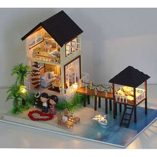 GIFTIDEA Romantic and Cute Dollhouse Miniature DIY House Kit Creative Room Perfect DIY Gift for Friends,Lovers and Families(Trip Of Maldives)