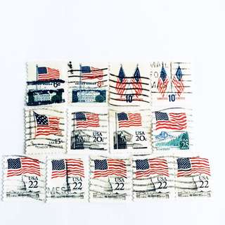 USA Flags Old Stamps