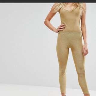 Gold metallic legging