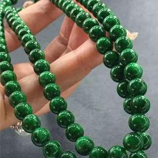 翡翠長款珠緬甸天然翡翠A玉绿色108顆辣綠圓珠鍊