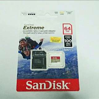 Original Authentic Sandisk Extreme Micro Sdhc Card 64gb Class 10 100mb/s for Gopro Hero/SJCAM Sport Action Camera