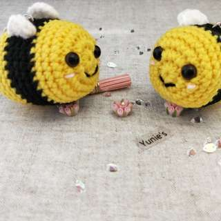 Bumble Bee amigurumi with bead chain , key chain, amigurumi toy