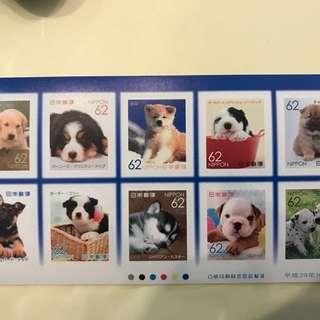 日本限定 只有兩張 👍🏻狗狗郵票