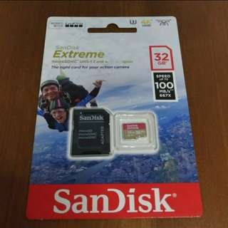 Original Authentic Sandisk Extreme Micro Sdhc Card 32gb Class 10 100mb/s for Gopro Hero/SJCAM Sport Action Camera
