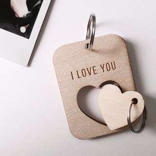 Wooden Couple Keychain (Customizable for VDAY!!!!!!!)