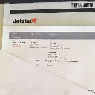 Jetstar one way to Goldcoast.  Travelling Monday January 22nd 2018