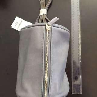 BNWT Grey Korea Mini Round Long Shoulder Bag Synthetic Leather
