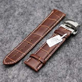Strap Jam Leather Steel Push Button Hidden Brown 22mm