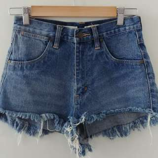 Denim High Waisted Cheeky Shorts