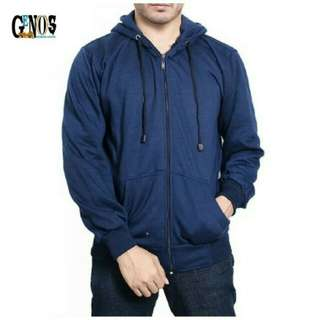 Jaket Sweater Polos Hoodie Zipper/Resleting Biru Navy