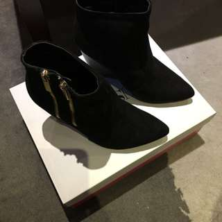 Black suede wedge shoes.  Size 7.  Never worn