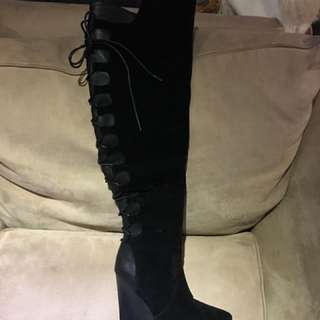 Suede and leather over the knee boots.  Size 7.  Never worn.