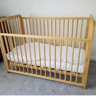 Mothercare wooden baby cot with Mothercare mattress