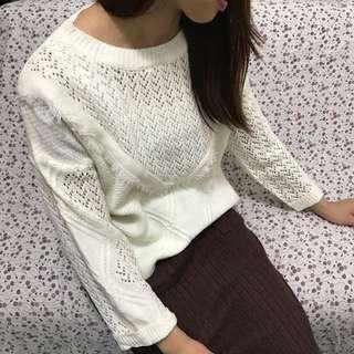 純色流蘇長袖毛衣