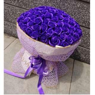 99pcs Fragrance Soap Rose Flower Bouquet (PURPLE)