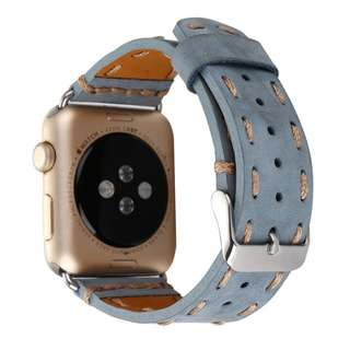 Strap Watch Apple 42mm Genuine Leather Classic Blue