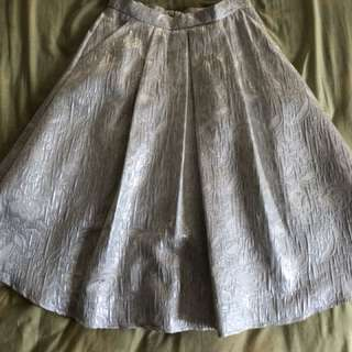 Miss Selfridge silver jacquard midi skirt UK8