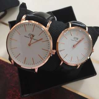 DW Rosegold Couple Black strap Best Seller