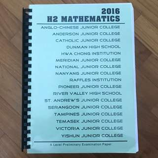H2 Mathematics 2016 Prelim Papers Stack