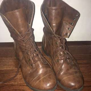 Tan leather combat boots