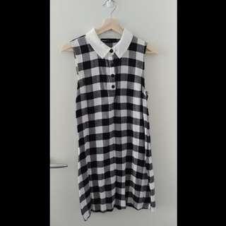 Checkered Cotton Sleeveless Dress