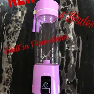 Fruit Juice Blender Bottle with Built-In Powerbank and 4 Blades, Magnetic Safety Interlock