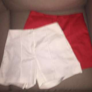 Red and White Tailored Shorts