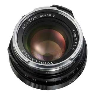 Voigtlander Nokton 40mm f/1.4 VM M Mount Prime Lens (BRAND NEW)