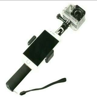 🆕💯%Go pro ActionCam Selfie Stick With Phone Attachment