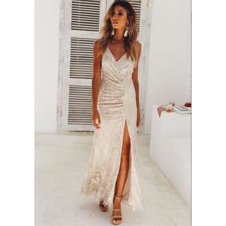 Champagne slit maxi formal dress
