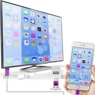 (大量 全新)  iPhone 7 接電視線 iPhone 6s Plus hdmi 接電視 iPhone 6 iPhone 5S Plus適合 一插即用免設定 ios8-11合用 iphone x
