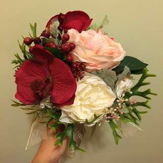 紅色系玫瑰蝴蝶蘭絲花花球 Red Phalaenopsis and pink rose silk bouquet