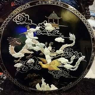 "Chinese Vintage Mother Of Pearl Seashells Round Wall Hanging Wood Plaque 30 1/4"" Diameter"