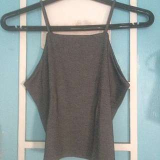 Grey and white sleeveless top