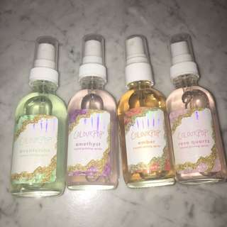 Colourpop Crystal Setting Sprays (Aventurine, Amethyst, Amber, Rose Quartz)
