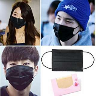 (READY STOCK) BTS, GOT7, TFBOYS Airport Fashion Black Disposable face mask