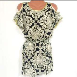 Oriental Cold Shoulder Mini Dress