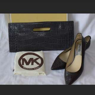 MK Alligator Embossed Gray clutch with matching kitten heels