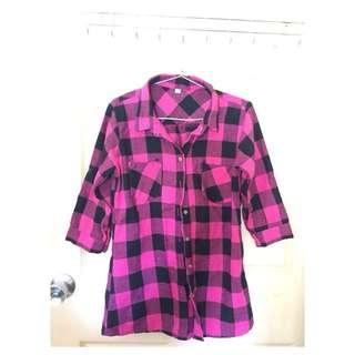 3/4 Sleeve Checkered