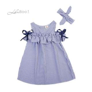 Girls Striped Sleeveless Summer Dress