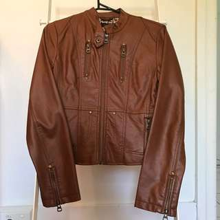 Brown faux leather jacket - size small