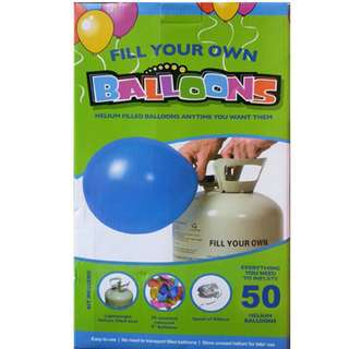 Disposable Helium Tank + 50 pieces of balloons