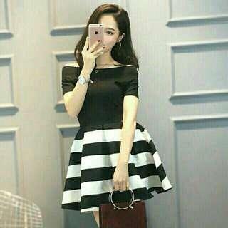 Black and White Korean Stripes Dress